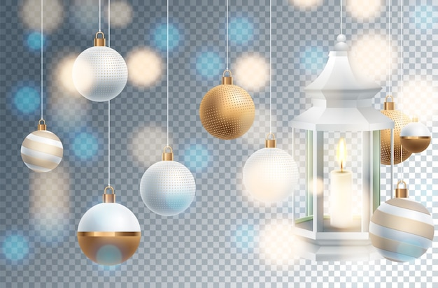 Weihnachtsdekoration mit festlichen gegenständen. isoliert auf transparent