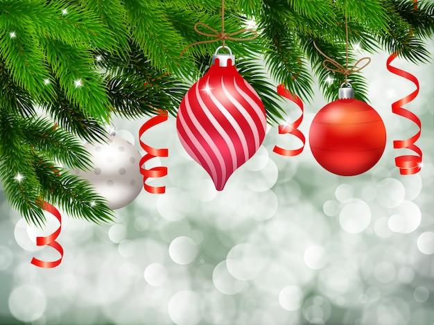 Weihnachtsdekoration mit tannennadel auf partikelhintergrund