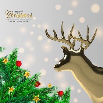 Weihnachtsdekoration mit tannenzweig und rehen