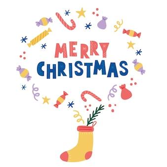 Weihnachtsdekoration socke mit süßigkeiten und süß. hand gezeichnete artillustration. winterurlaub, weihnachten, neujahrskonzept.