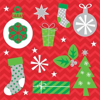 Weihnachtsdekoration stellt mit weihnachtsbaum, flitter, socke, geschenk und dekorativer weihnachtsform ein