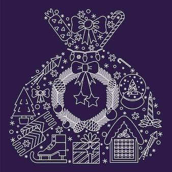 Weihnachtsdekoration und illustration