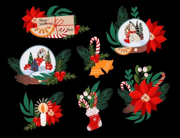 Weihnachtsdekoration wie tannenzweig, glaskugel, weihnachtsstern, tannenzapfen und mehr.