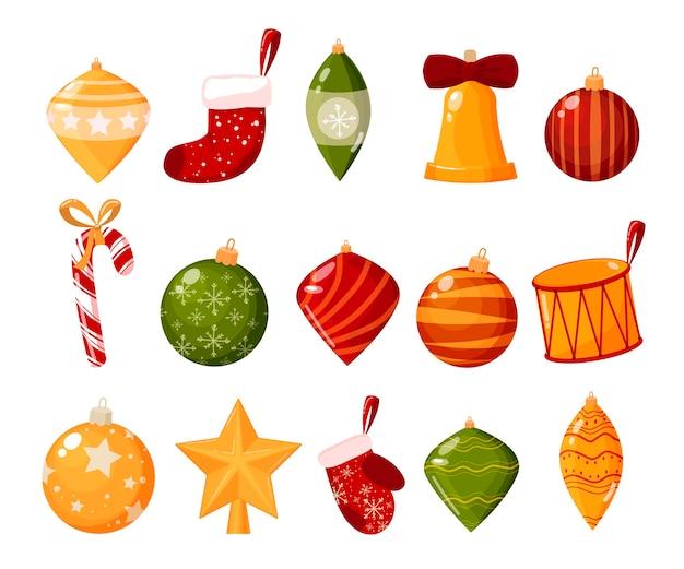 Weihnachtsdekorationen lokalisiert auf weißem hintergrundsatz des illustrationssatzes. das konzept der winterferien und feiern. bälle, stern, socke, fäustling, süßigkeiten, trommel.