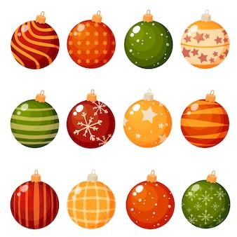 Weihnachtsdekorationen lokalisiert auf weißem hintergrundsatz des illustrationssatzes. das konzept der winterferien und feiern.