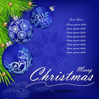Weihnachtsdekorationen mit 3 blauen weihnachtsbällen