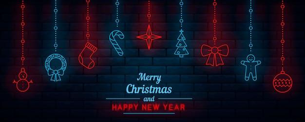 Weihnachtsdekorationen mit hängenden elementen in der neonart