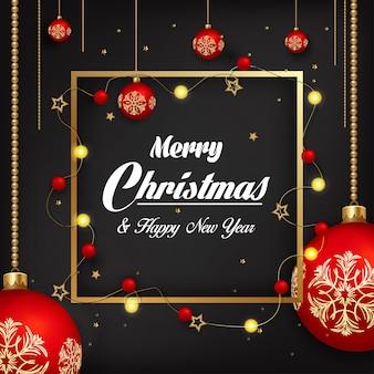 Weihnachtsdekorationen mit verzierungen auf einem schwarzen hintergrund