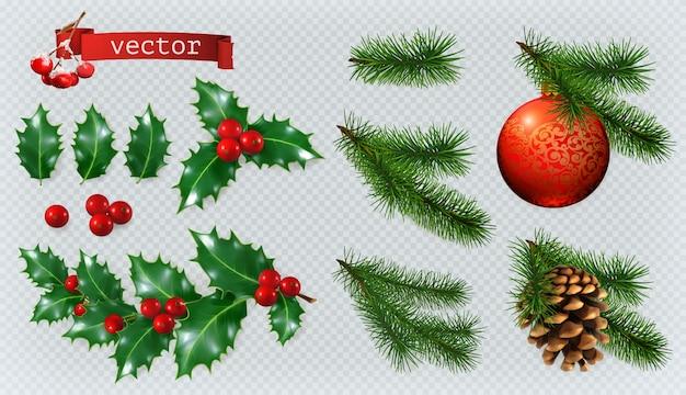 Weihnachtsdekorationen. stechpalme, fichte, rote beeren, weihnachtskugel, nadelbaumkegel.