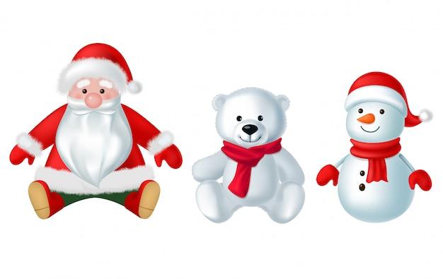Weihnachtsdekorationsspielwaren lokalisiert auf weißem hintergrundillustrationssatz