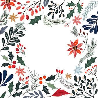 Weihnachtsdekorativer rahmen mit saisonblumen und -anlagen