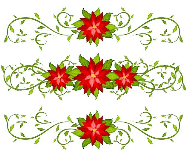 Weihnachtsdekorativer satz poinsettiagrenzen lokalisiert auf weiß