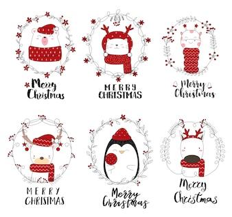 Weihnachtsdesign mit gezeichneter Art der netten Tierkarikatur Hand