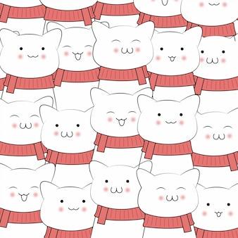Weihnachtsdesign mit gezeichneter art der niedlichen katzenkarikatur hand