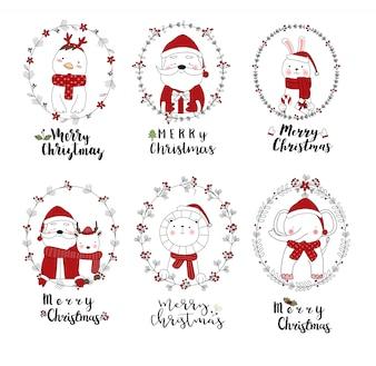 Weihnachtsdesign mit netter gezeichneter Art der Tierkarikatur Hand