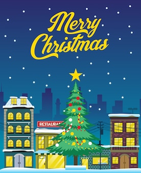 Weihnachtsdesign mit stadt in der nacht