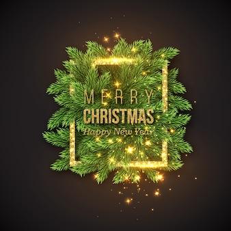 Weihnachtsdesign, realistischer goldrahmen mit leuchtenden lichtern und goldenem text, neujahrstannenzweigdekoration. schwarzer farbhintergrund.