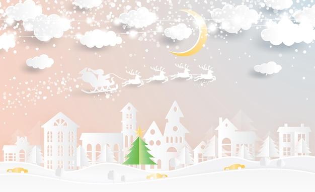 Weihnachtsdorf und weihnachtsmann im schlitten im scherenschnitt-stil. winterlandschaft mit mond und wolken. vektor-illustration. frohe weihnachten und ein glückliches neues jahr.