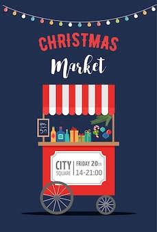 Weihnachtsdorf, winterstadt, weihnachtsmarkt, weihnachtsmarkt, weihnachtsplakat. frohe weihnachten plakat