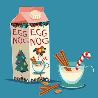 Weihnachtseierpunsch im kartonpaket mit zimt, zuckerstange und einem glas mit einem getränk. vektorsatz traditionelle feiertagsfestlichkeiten lokalisiert