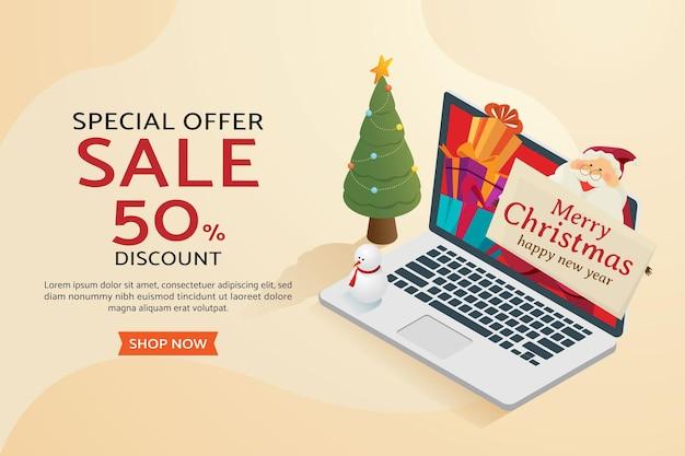 Weihnachtseinkauf online weihnachtsmann mit weihnachtsbaum-geschenkbox