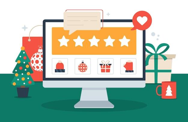 Weihnachtseinkauf und feedback fünf sterne flache illustration