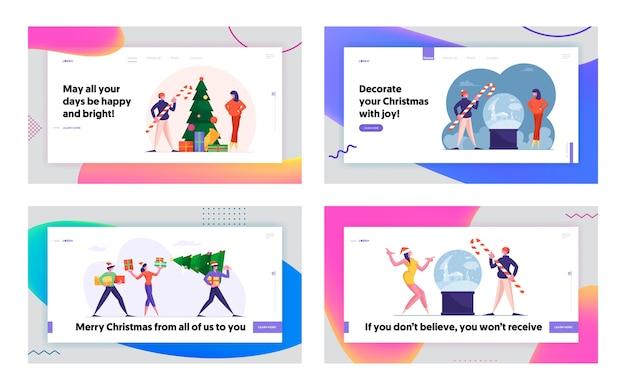 Weihnachtseinkauf und weihnachtsmann mit geschenken website landing page set