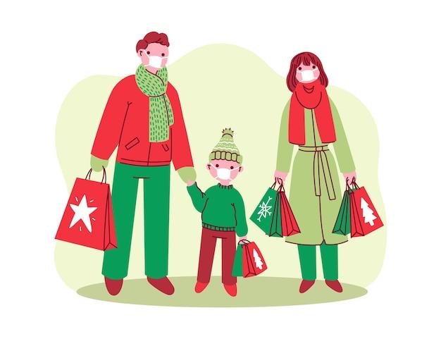 Weihnachtseinkaufsszene - masken tragen