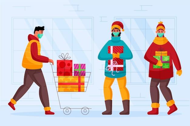 Weihnachtseinkaufsszene mit masken