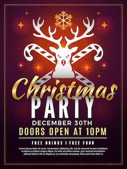 Weihnachtseinladung. partyfeier-weinleseplakat des neuen jahres des feiertags mit lustigen winterelementen