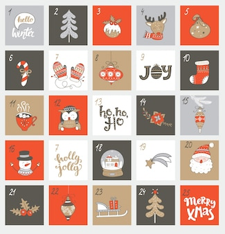 Weihnachtseinweihungskalender mit symbolen.