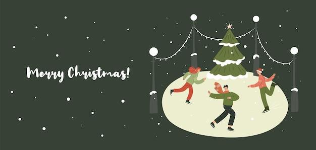 Weihnachtseislaufbanner menschen auf der eisbahn, die spaß haben weihnachtsbaumschnee hässliche pullover