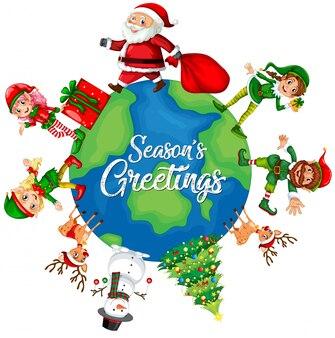 Weihnachtselement auf dem globus