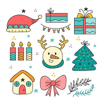 Weihnachtselement hand gezeichneter satz