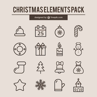 Weihnachtselement-icons