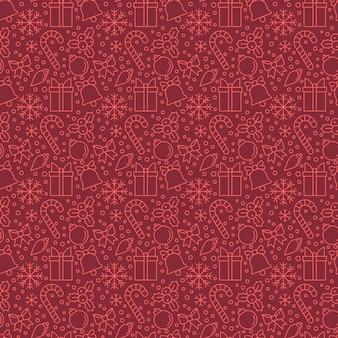 Weihnachtselemente auf rotem hintergrund nahtloses muster für hintergrund, tapete, packpapier