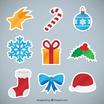 Weihnachtselemente-aufkleber-sammlung