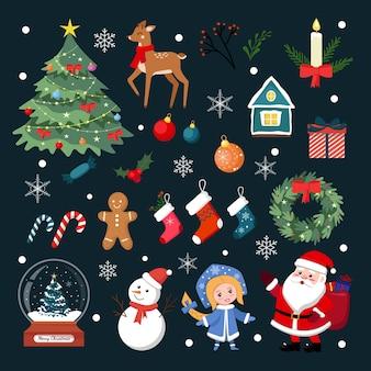 Weihnachtselemente eingestellt. hochwertiges flaches design weihnachtsdekorationselemente