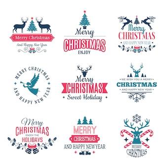 Weihnachtselemente. feiertagsaufkleber fasst abzeichen ein und vintage stempelwünsche des neuen jahres mit ihrem text