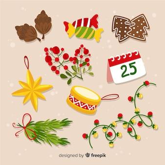 Weihnachtselemente im flachen design