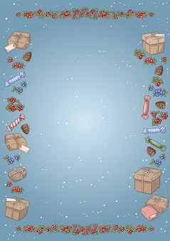 Weihnachtselemente kritzeleien. bunte a4-vorlage für brief, preisliste, poster