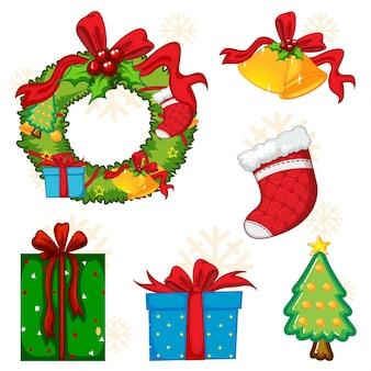 Weihnachtselemente mit kranz und baum