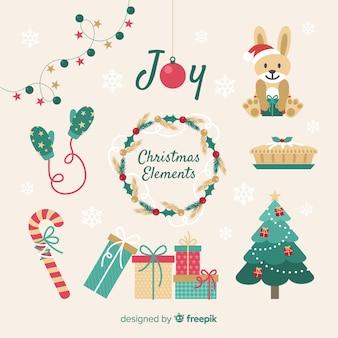 Weihnachtselemente packen in flache
