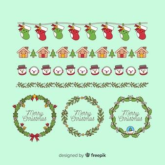 Weihnachtselemente rahmen und grenzen