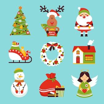 Weihnachtselemente und -zeichen eingestellt