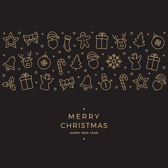 Weihnachtselementikonen goldfahne schwarzer hintergrund