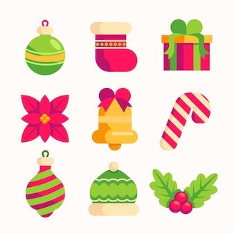 Weihnachtselementkollektion im flachen design