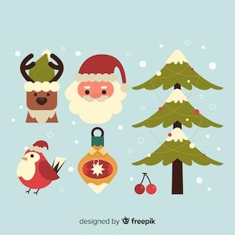 Weihnachtselementsammlung im flachen design