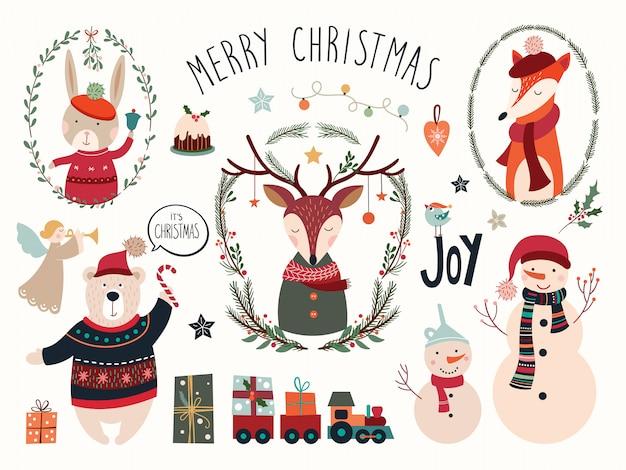 Weihnachtselementsammlung mit rotwild und saisonhand gezeichneten elementen