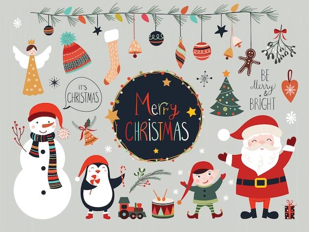 Weihnachtselementsammlung mit sankt und schneemann